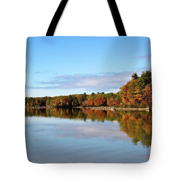 Fall Tree Reflections Lake Sabago Maine Tote Bag