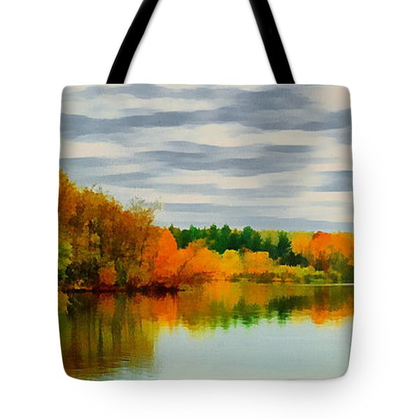 Fall Water Painterly Rendering Tote Bag