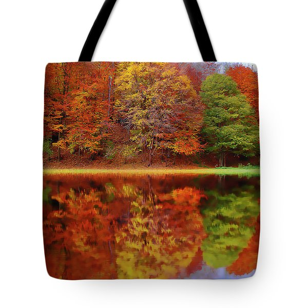 Tote Bag featuring the painting Fall Waters by Harry Warrick