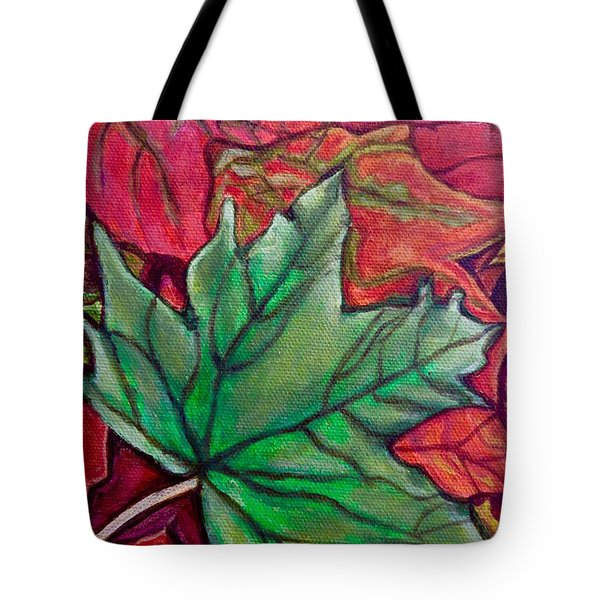 Tote Bag featuring the painting Fallen Green Maple Leaf In The Fall by Kimberlee Baxter