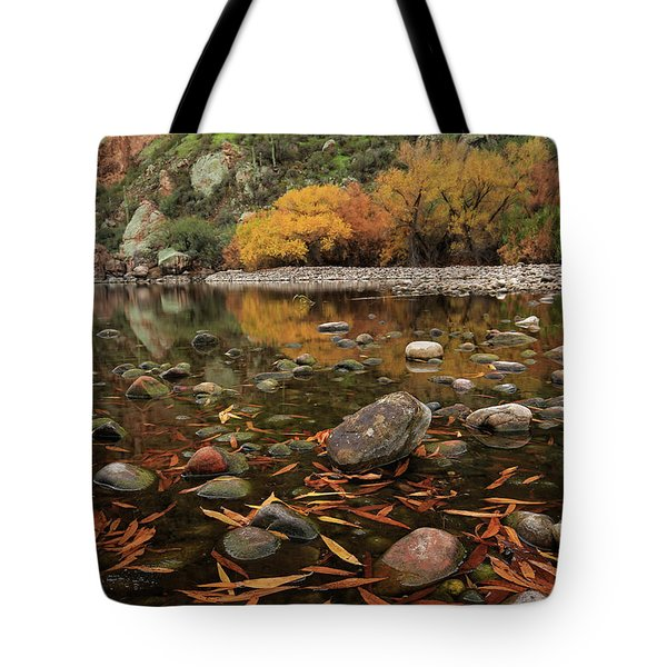 Fallen Leaves Along The River Tote Bag by Sue Cullumber