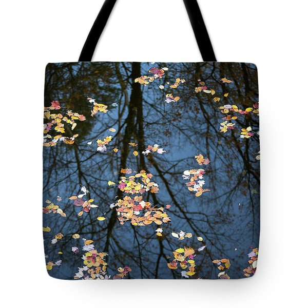 Fallen Leaves In Autumn Lake Tote Bag