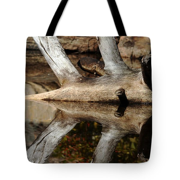 Tote Bag featuring the photograph Fallen Tree Mirror Image by Debbie Oppermann