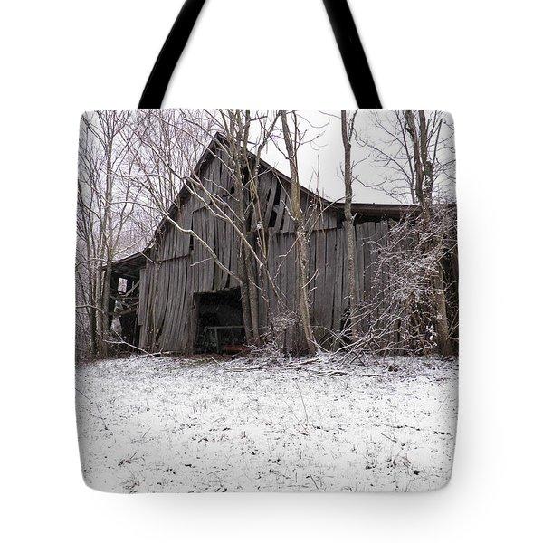 Falling Barn Tote Bag by Nick Kirby