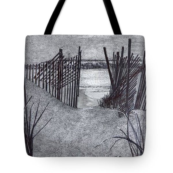 Falling Fence Tote Bag
