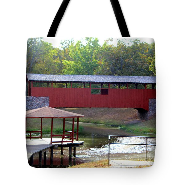 Falling For The Red Covered Bridge Tote Bag