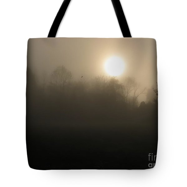 Falling Leaf In Morning Fog Tote Bag by Misha Bean