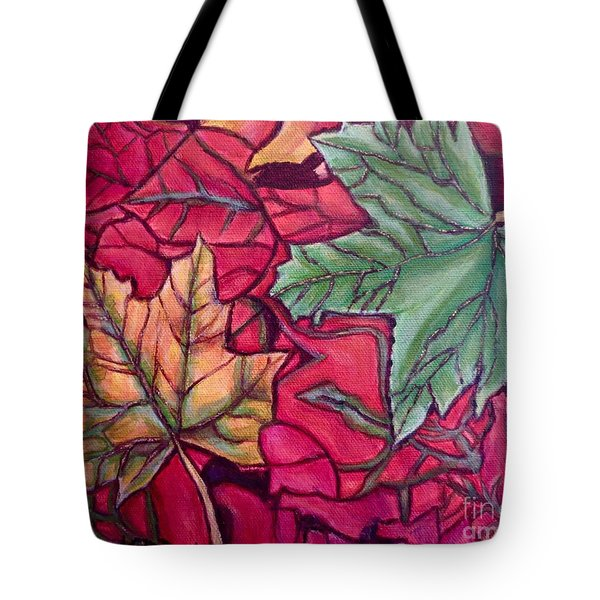 Tote Bag featuring the painting Falling Leaves Two Painting by Kimberlee Baxter