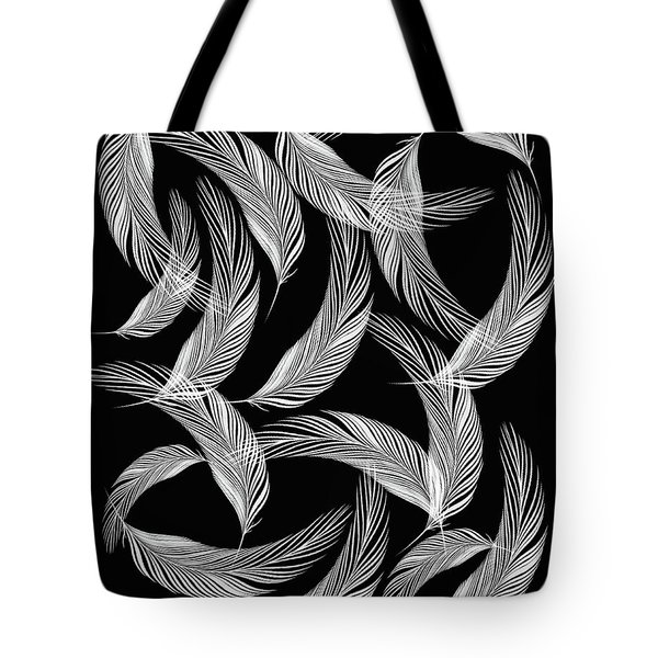 Falling White Feathers Tote Bag