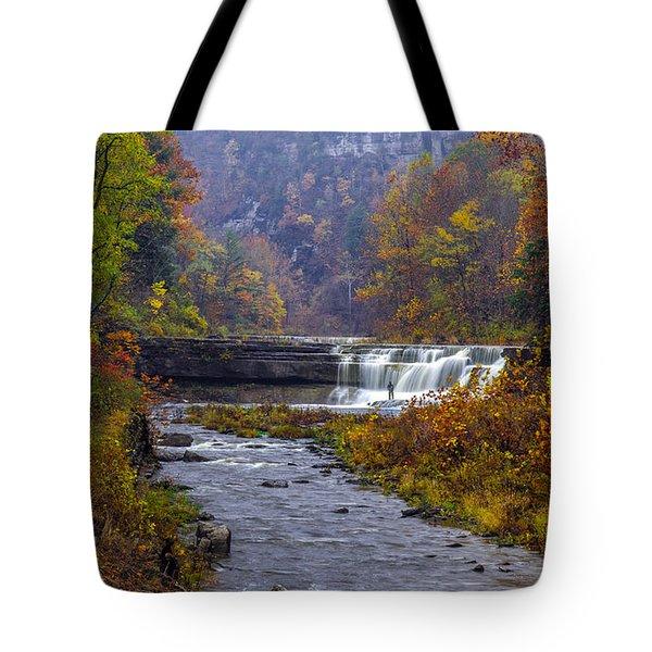 Falls Fishing Tote Bag by Mark Papke