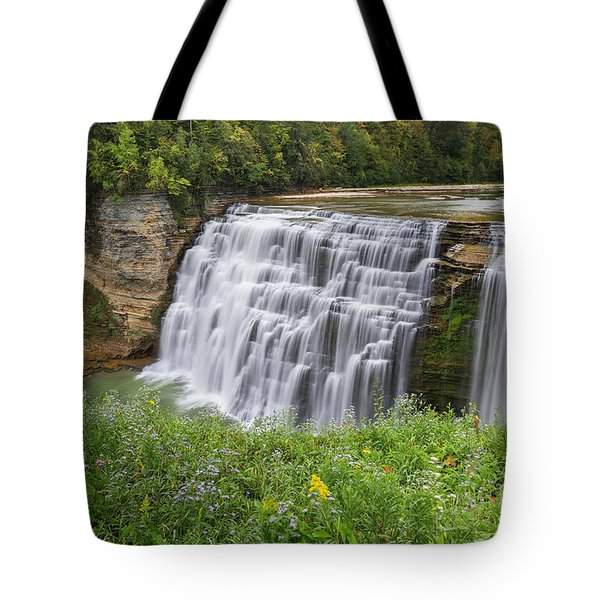 Autumn Flower Of Letchworth Middle Falls Tote Bag