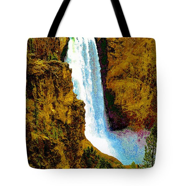 Falls Of The Yellowstone Tote Bag by David Lee Thompson