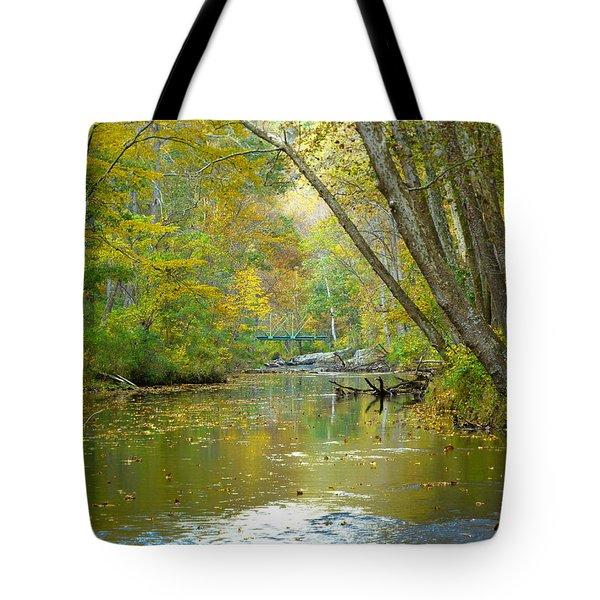 Tote Bag featuring the photograph Falls Road Bridge Over The Gunpowder Falls by Donald C Morgan