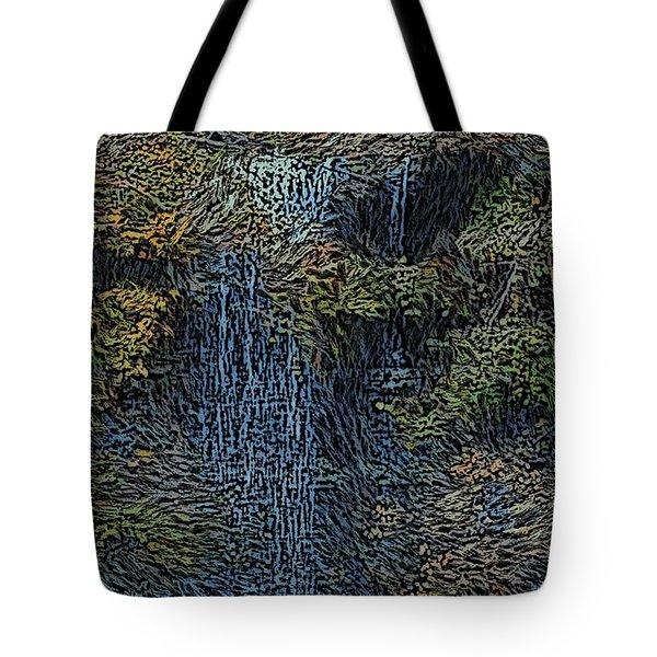 Falls Woodcut Tote Bag by David Lane
