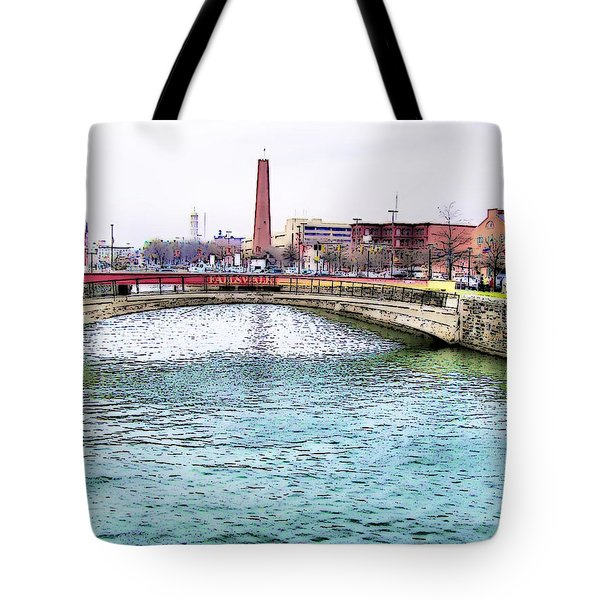 Tote Bag featuring the photograph Fallswalk And Shot Tower by Brian Wallace