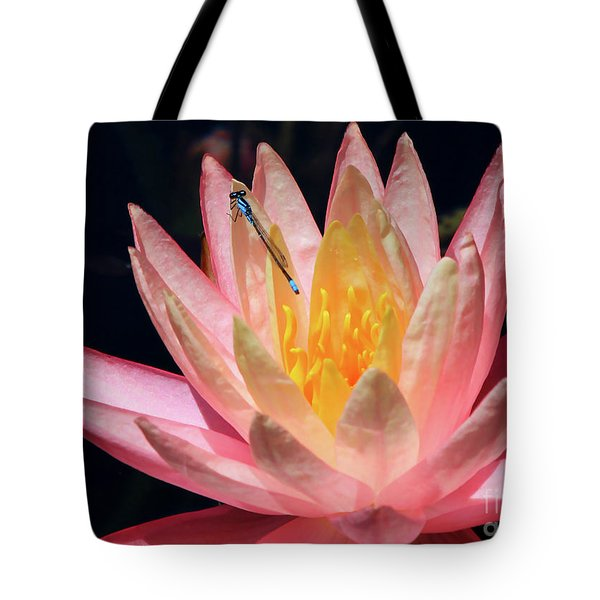 Familiar Bluet Damselfly And Lotus 2 Tote Bag