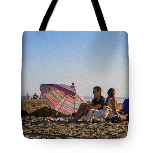 Family At Ocean Beach With Dogs Tote Bag