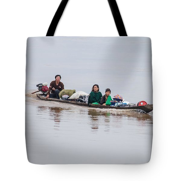 Family Boat On The Amazon Tote Bag
