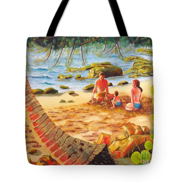 Family Day At Jobos Beach Tote Bag by Milagros Palmieri