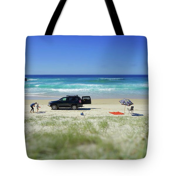 Family Day On Beach With 4wd Car  Tote Bag