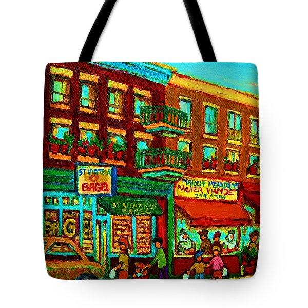 Family Frolic On St.viateur Street Tote Bag by Carole Spandau