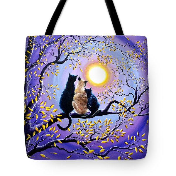 Family Moon Gazing Night Tote Bag