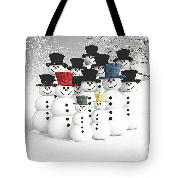 Family Of Snowmen Tote Bag