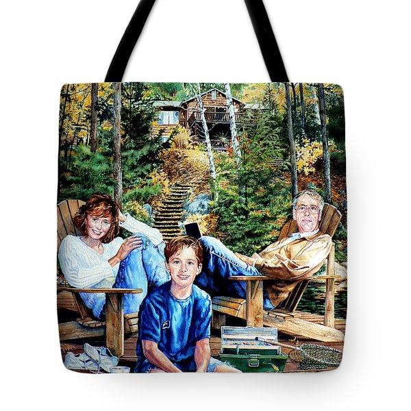 Family On The Dock Tote Bag by Hanne Lore Koehler