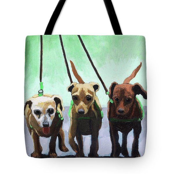 Family Ties - Chihuahuas Dog Painting Tote Bag