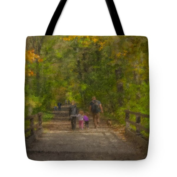 Family Walk At Borderland Tote Bag