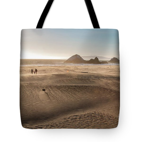 Family Walking On Sand Towards Ocean Tote Bag