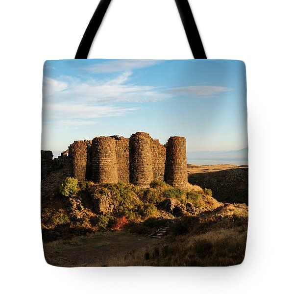 Famous Amberd Fortress With Mount Ararat At Back, Armenia Tote Bag
