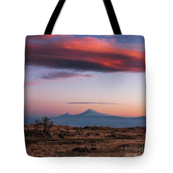 Famous Ararat Mountain During Beautiful Sunset As Seen From Armenia Tote Bag
