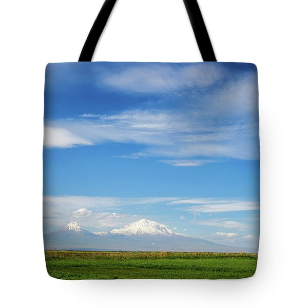 Famous Ararat Mountain Under Beautiful Clouds As Seen From Armenia Tote Bag