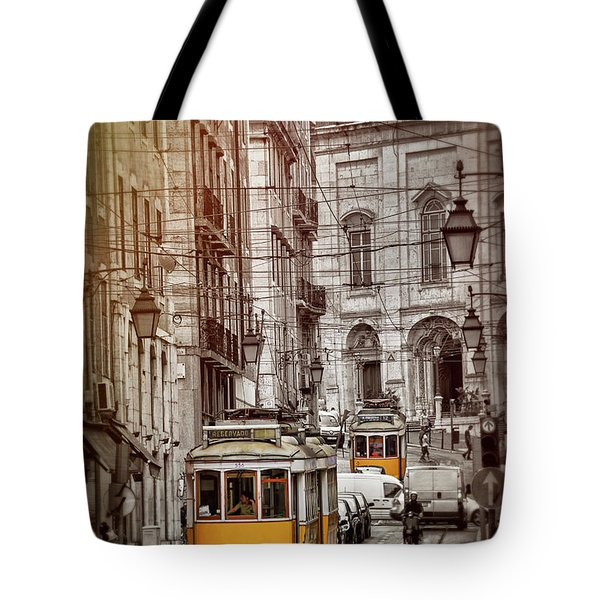 Famous Yellow Trams Of Lisbon Portugal  Tote Bag