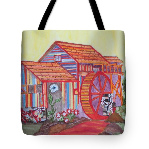 Tote Bag featuring the painting Fanasty Waterwheel by Connie Valasco