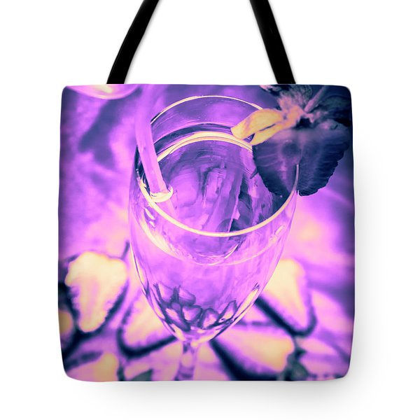 Fancy Champagne With Sliced Strawberries Tote Bag