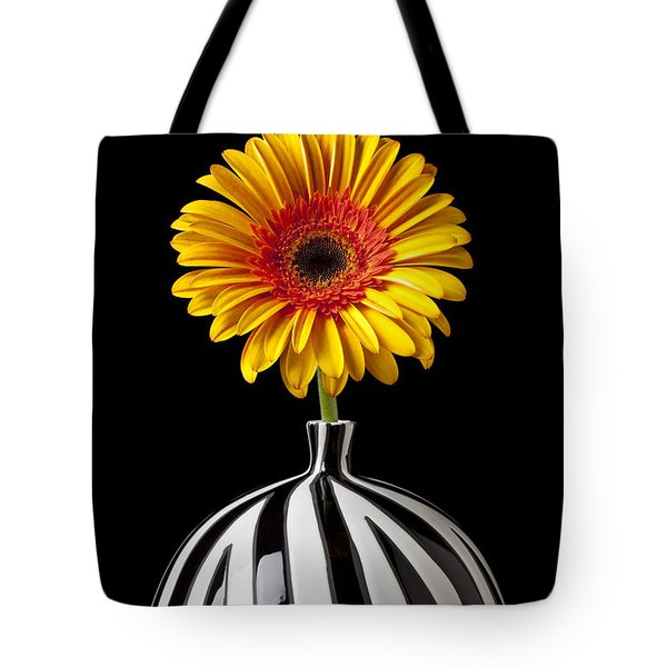 Fancy Daisy In Stripped Vase  Tote Bag by Garry Gay