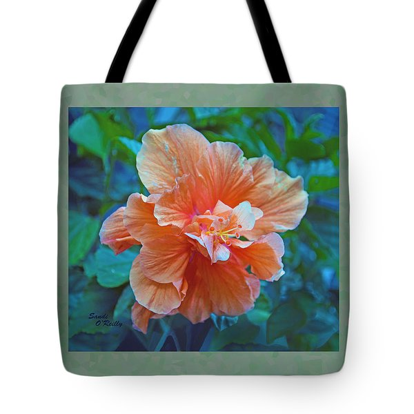 Fancy Peach Hibiscus Tote Bag