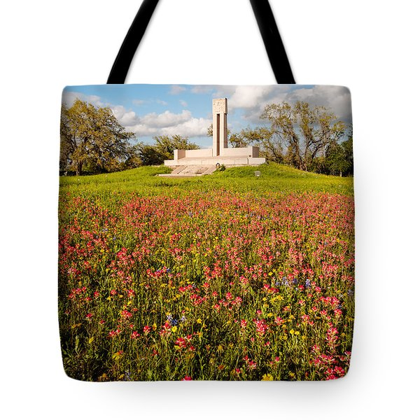 Fannin Monument And Memorial With Wildflowers In Goliad - Coastal Bend South Texas Tote Bag