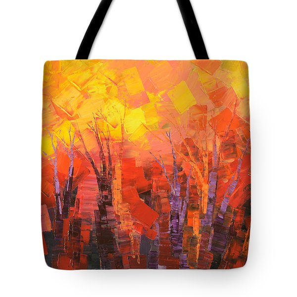 Tote Bag featuring the painting Fantastic Fire by Tatiana Iliina