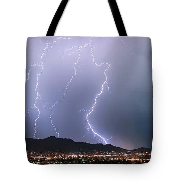 Fantastic Lightning Show Over City Lights Tote Bag