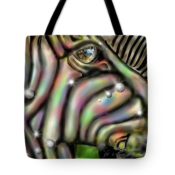 Tote Bag featuring the digital art Fantastic Zebra by Darren Cannell