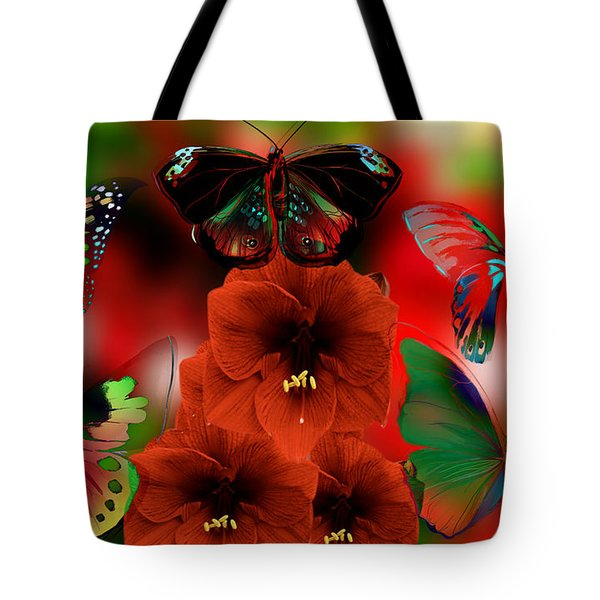 Fantasy Christmas Butterflies Tote Bag