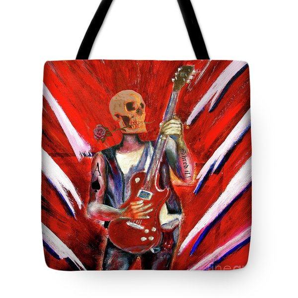 Fantasy Heavy Metal Skull Guitarist Tote Bag
