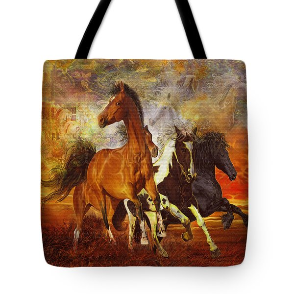 Tote Bag featuring the painting Fantasy Horse Visions by Steve Roberts
