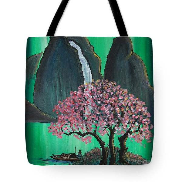 Tote Bag featuring the painting Fantasy Japan by Jacqueline Athmann