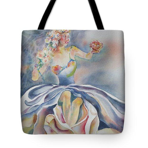 Tote Bag featuring the painting Fantasy Rose by Mary Haley-Rocks