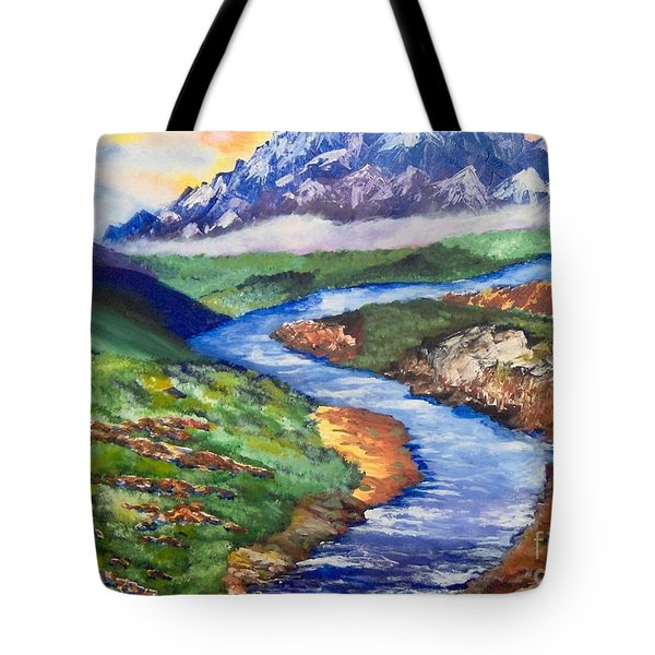 Tote Bag featuring the painting Fantasy by Saundra Johnson