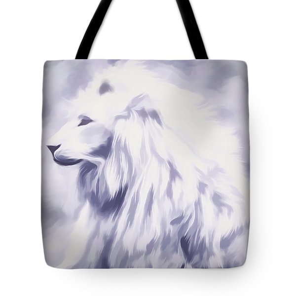 Fantasy White Lion Tote Bag